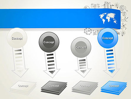 World Map and Charts PowerPoint Template Slide 8