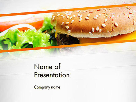 Cheese Burger with Salad PowerPoint Template, 12811, Food & Beverage — PoweredTemplate.com