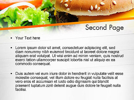 Cheese Burger with Salad PowerPoint Template, Slide 2, 12811, Food & Beverage — PoweredTemplate.com
