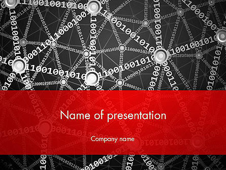 Binary Code Network Concept PowerPoint Template, 12836, Technology and Science — PoweredTemplate.com