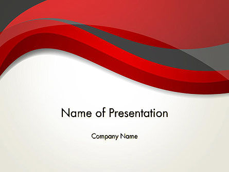 Abstract/Textures: Abstract Red and Gray Wave PowerPoint Template #12843