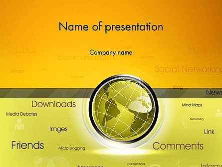 Careers/Industry: Globe with Internet Related Words PowerPoint Template #12845