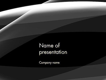 Gray Waves on Black Background PowerPoint Template