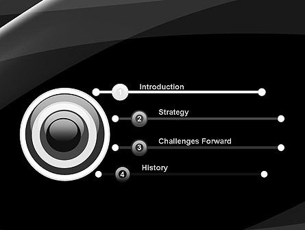 Gray Waves on Black Background PowerPoint Template Slide 3