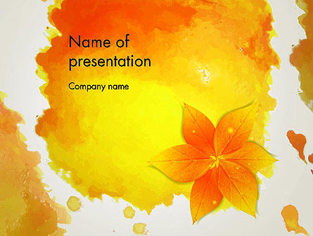 Art & Entertainment: Ink Watercolor with Yellow Leaves PowerPoint Template #12880