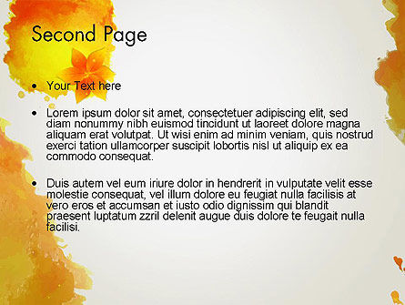 Ink Watercolor with Yellow Leaves PowerPoint Template Slide 2