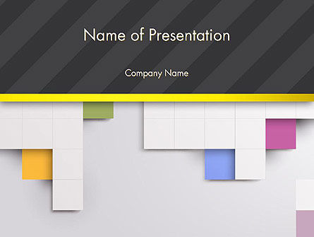 Minimal Geometric Design with Squares PowerPoint Template, 12882, Abstract/Textures — PoweredTemplate.com