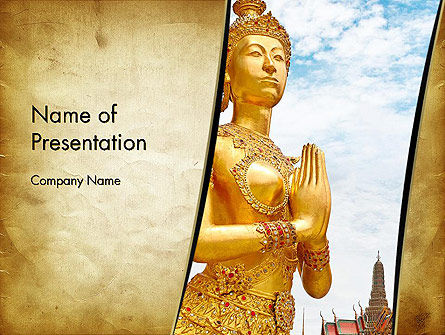 Temples in Bangkok PowerPoint Template, 12886, Construction — PoweredTemplate.com