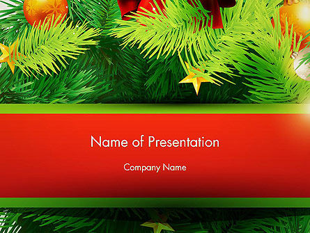 Christmas Fir Branches PowerPoint Template, 12888, Holiday/Special Occasion — PoweredTemplate.com