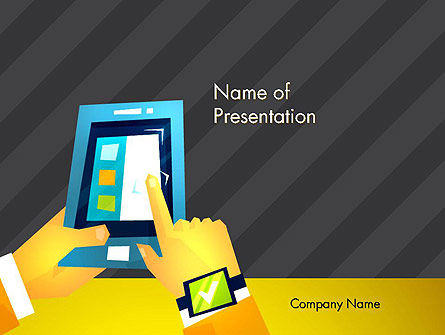 Technology and Science: Handen Met Touchpad Tekening PowerPoint Template #12892