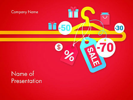 Hanger with Sale Stickers PowerPoint Template, 12907, Careers/Industry — PoweredTemplate.com
