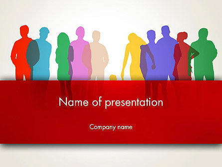 Colored People Silhouettes Standing PowerPoint Template