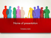 People: Colored People Silhouettes Standing PowerPoint Template #12915