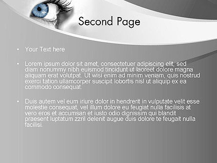 Closeup of Very Blue Eye PowerPoint Template Slide 2