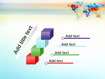 Colorful World Map in Polygonal Design PowerPoint Template Slide 14