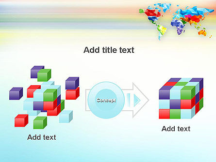 Colorful World Map in Polygonal Design PowerPoint Template Slide 17