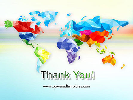 Colorful World Map in Polygonal Design PowerPoint Template Slide 20