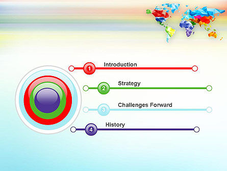 Colorful World Map in Polygonal Design PowerPoint Template Slide 3
