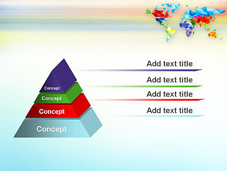 Colorful World Map in Polygonal Design PowerPoint Template Slide 4