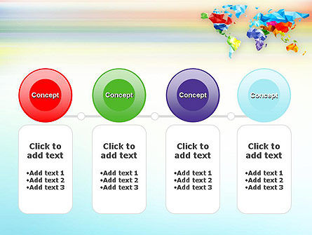 Colorful World Map in Polygonal Design PowerPoint Template Slide 5