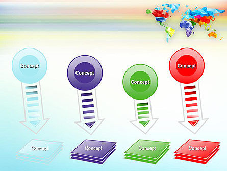Colorful World Map in Polygonal Design PowerPoint Template Slide 8