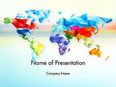Global: Colorful World Map in Polygonal Design PowerPoint Template #12933
