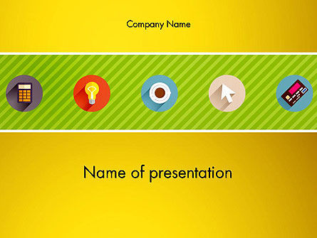 Yellow Background with Icons PowerPoint