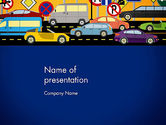 Cars and Transportation: City Traffic Illustration PowerPoint Template #12966