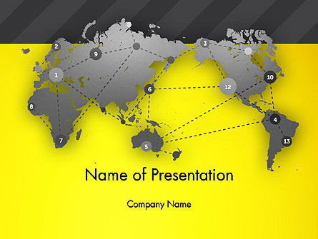 Global: Modelo do PowerPoint - pontos conectados no mapa do mundo #12976