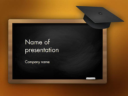 Blackboard with Mortarboard PowerPoint Template, 12978, Education & Training — PoweredTemplate.com