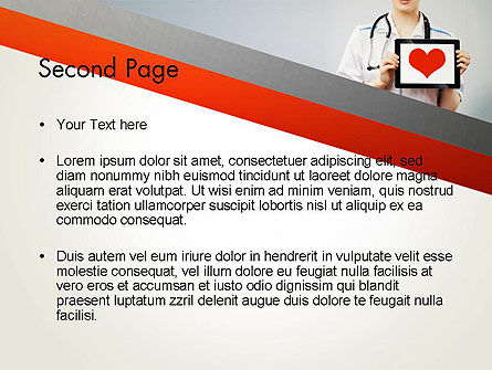 Doctor Holding a Tablet PC with Heart PowerPoint Template, Slide 2, 12994, Medical — PoweredTemplate.com