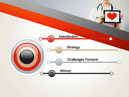 Doctor Holding a Tablet PC with Heart PowerPoint Template, Slide 3, 12994, Medical — PoweredTemplate.com