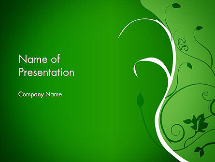 Floral Ornament on Green PowerPoint Template