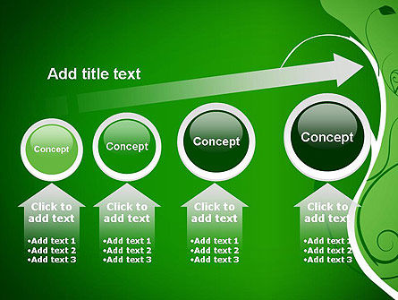 Floral Ornament on Green PowerPoint Template Slide 13