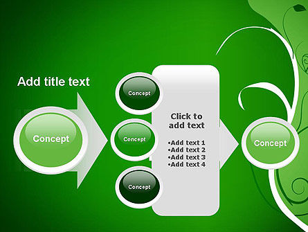 Floral Ornament on Green PowerPoint Template Slide 17