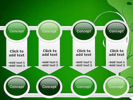 Floral Ornament on Green PowerPoint Template Slide 18
