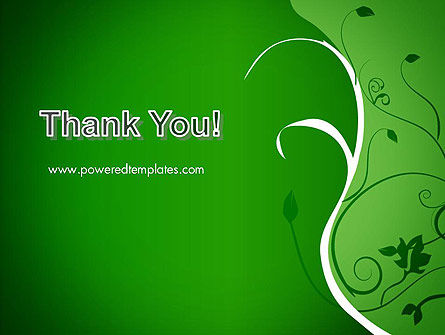 Floral Ornament on Green PowerPoint Template Slide 20