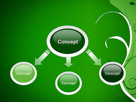 Floral Ornament on Green PowerPoint Template Slide 4