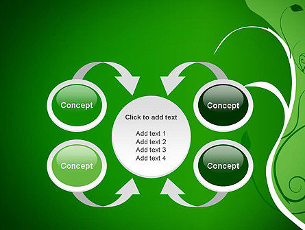 Floral Ornament on Green PowerPoint Template Slide 6