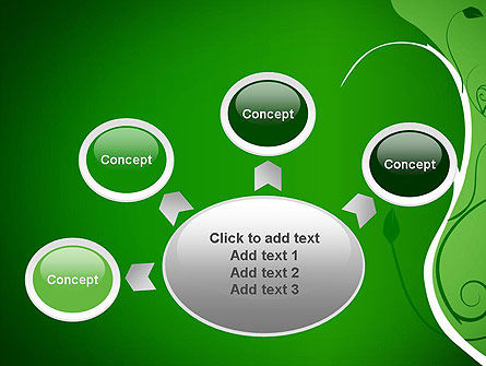 Floral Ornament on Green PowerPoint Template Slide 7