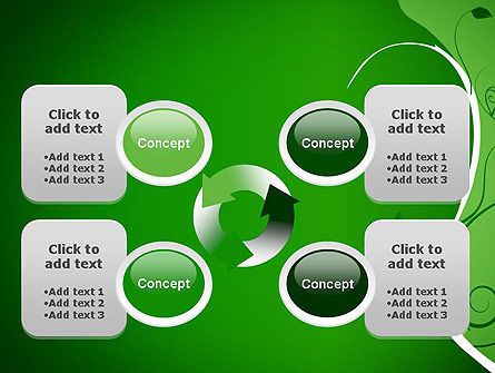 Floral Ornament on Green PowerPoint Template Slide 9