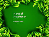 Abstract/Textures: Green Leaves Frame PowerPoint Template #13008