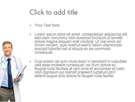 Smiling Physician PowerPoint Template, Slide 3, 13016, People — PoweredTemplate.com
