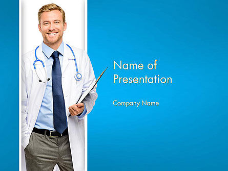 Smiling Physician PowerPoint Template, 13016, People — PoweredTemplate.com