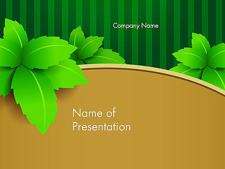 Nature & Environment: Green Leaves on Frame PowerPoint Template #13017