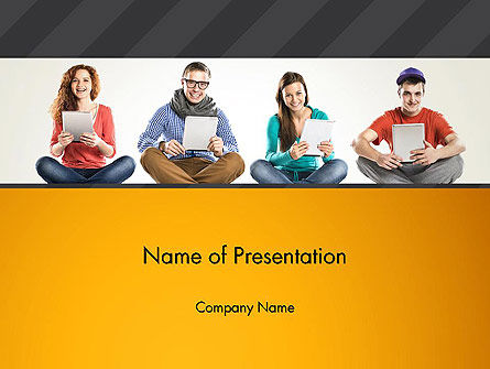 Education & Training: Young People with Tablets PowerPoint Template #13021