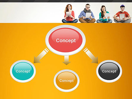 Young People with Tablets PowerPoint Template Slide 4