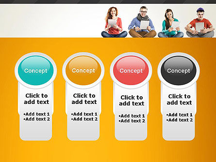 Young People with Tablets PowerPoint Template Slide 5