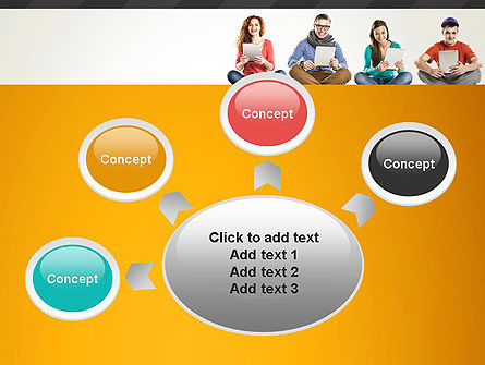 Young People with Tablets PowerPoint Template Slide 7