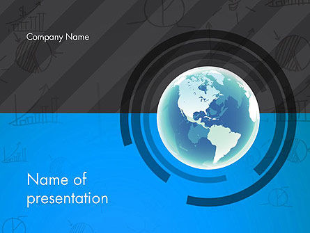 Globe Theme with Charts PowerPoint Template, 13022, Global — PoweredTemplate.com